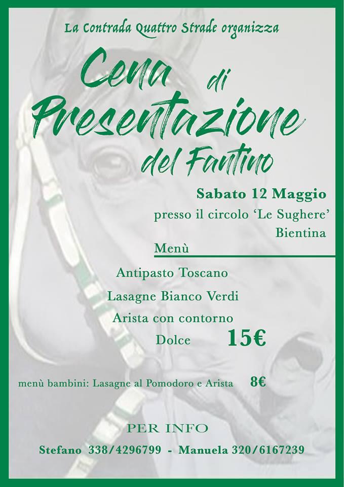 Bientina, Contrada Quattro Strade: 12/05 Cena di Presentazione delFantino