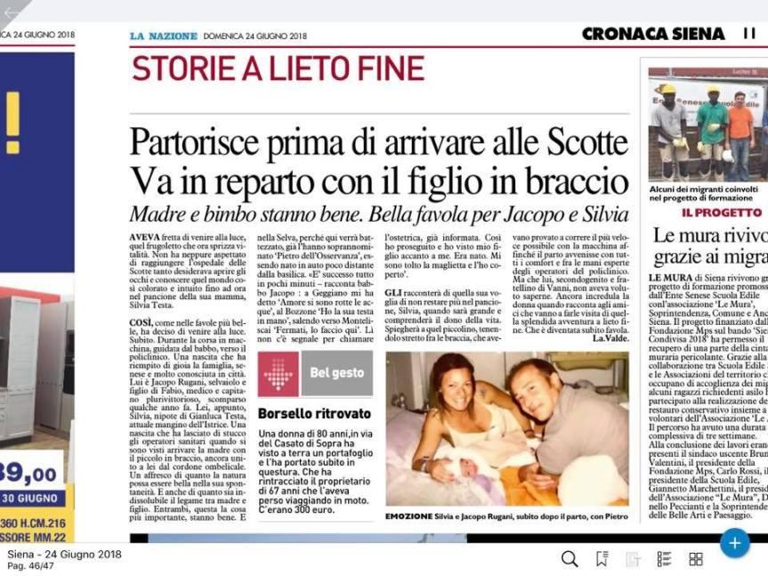 Siena, Storia a lieto fine: Silvia partorisce in auto prima di arrivare all'Ospedale leScotte