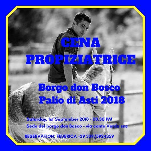 Palio di Asti, Borgo Don Bosco: 01/09 CenaPropiziatrice