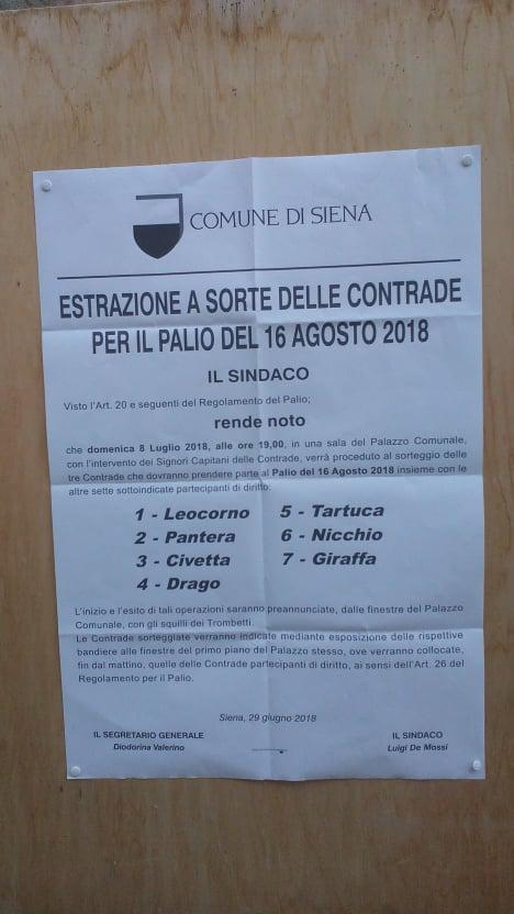 Palio di Siena: 08/07 Estrazione a sorte delle Contrade per il Palio del16/08/2018