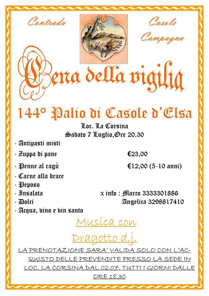 "Palio di Casole d'Elsa, Contrada Casole Campagna: 07/07 ""Cena Vigilia 144°palio di Casole d'Elsa"""