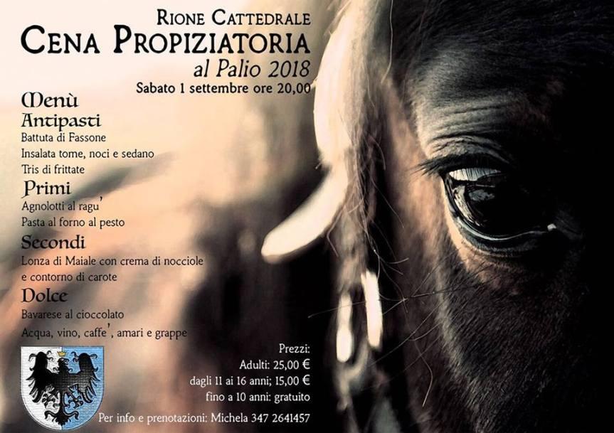 Palio di Asti, Rione Cattedrale: 01/09 Cena Propiziatoria al Palio2018