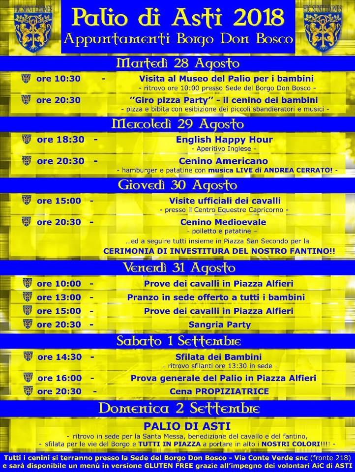 """Palio di Asti, Borgo Don Bosco: 28/08-02/09 """"Appuntamenti Borgo Don Bosco SettimanaPalio"""""""