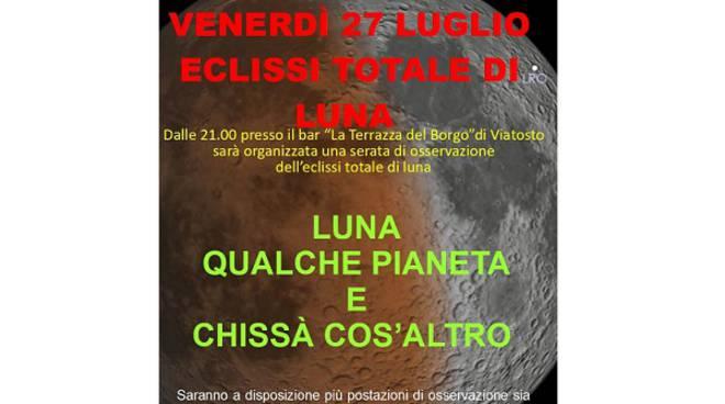Asti, Eclissi di Luna: A Viatosto un punto di osservazione con il Gruppo AstrofiliAstigiani