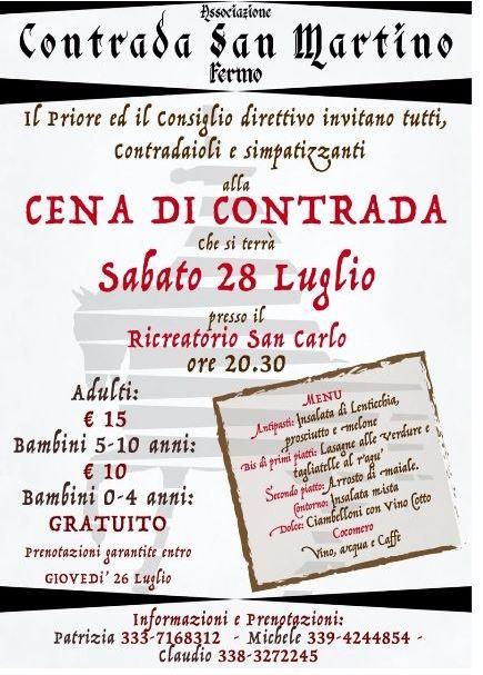 Palio di Fermo: Domani sera 28/07 , al Ricreatorio San Carlo, la tradizionale Cena di Contrada SanMartino