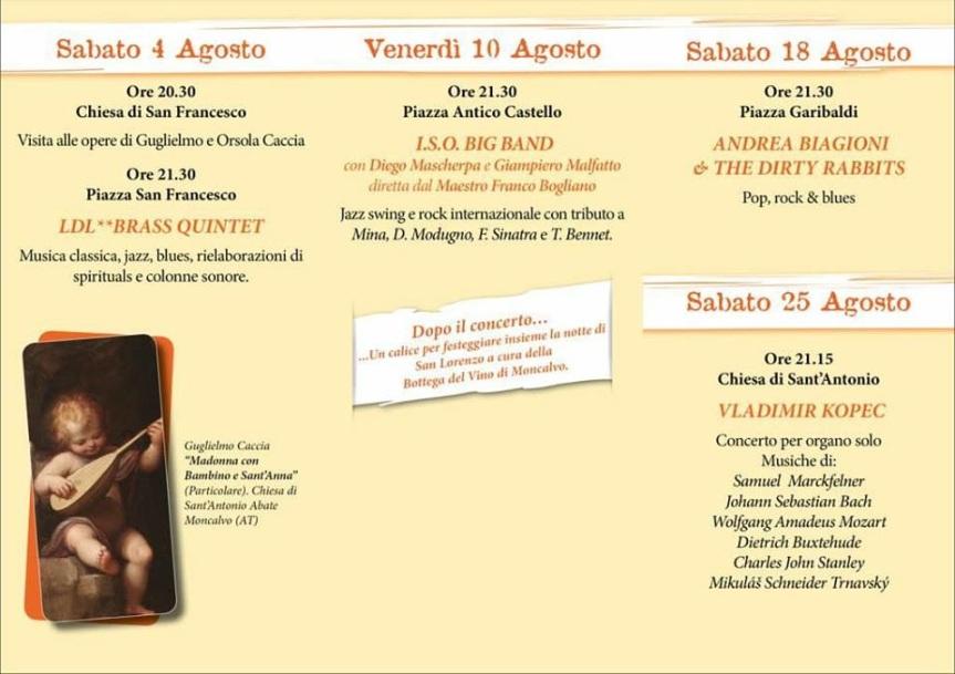 Asti, Festival Guglielmo Caccia: A Moncalvo un mese diappuntamenti