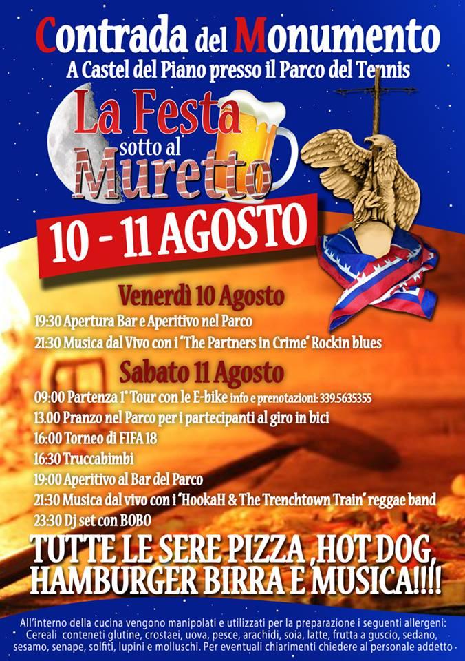 Palio di Castel del Piano, Contrada Monumento: 10-11/08 Festa sotto al Muretto.Programma