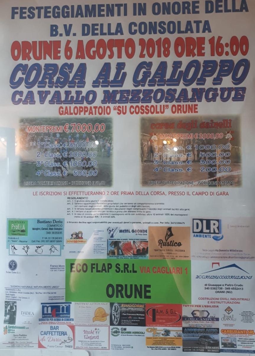 Palii di Sardegna, Orune: 06/08 Corsa Cavalli Mezzosangue ore16.00
