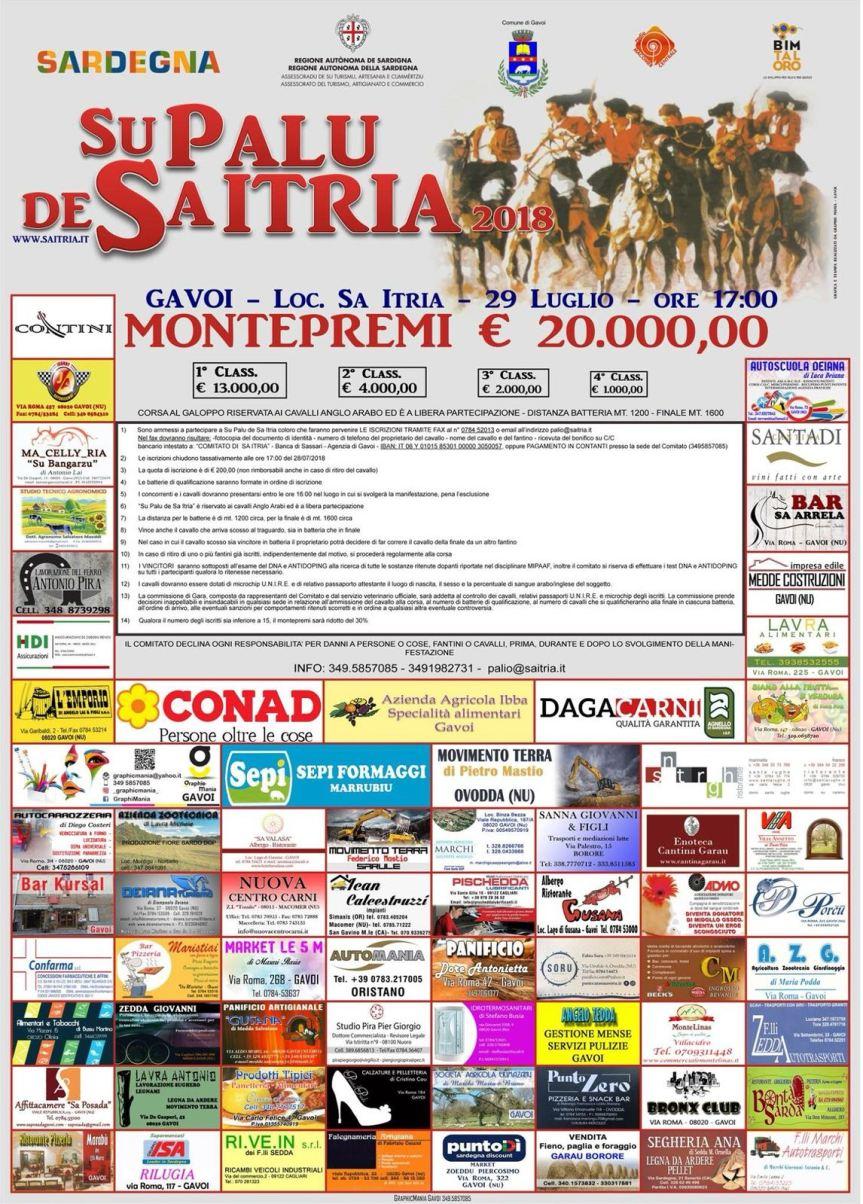 Sardegna, Gavoi ( OR ): 29/07 Su Palu de Sa Itria, tornano in gara i cavalli anglo arabi per un montepremi di 20.000euro