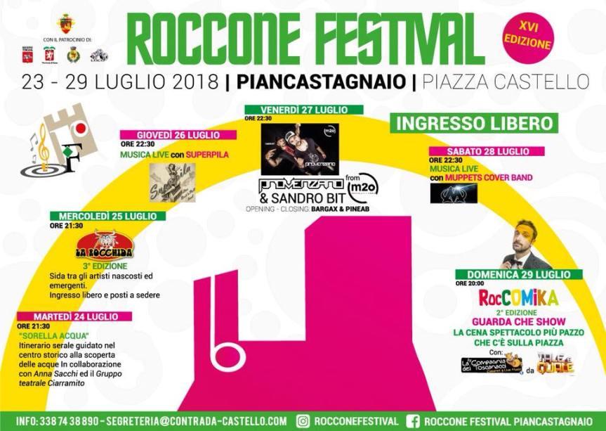 Palio di Piancastagnaio, Contrada Castello: Da Domani 23/07 a Domenica 29/07″ Roccone Festival2018″