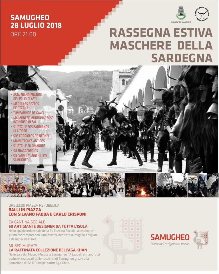 """Sardegna, Samugheo (Or): 28/07 Rassegna Estiva """"Maschere dellaSardegna"""""""