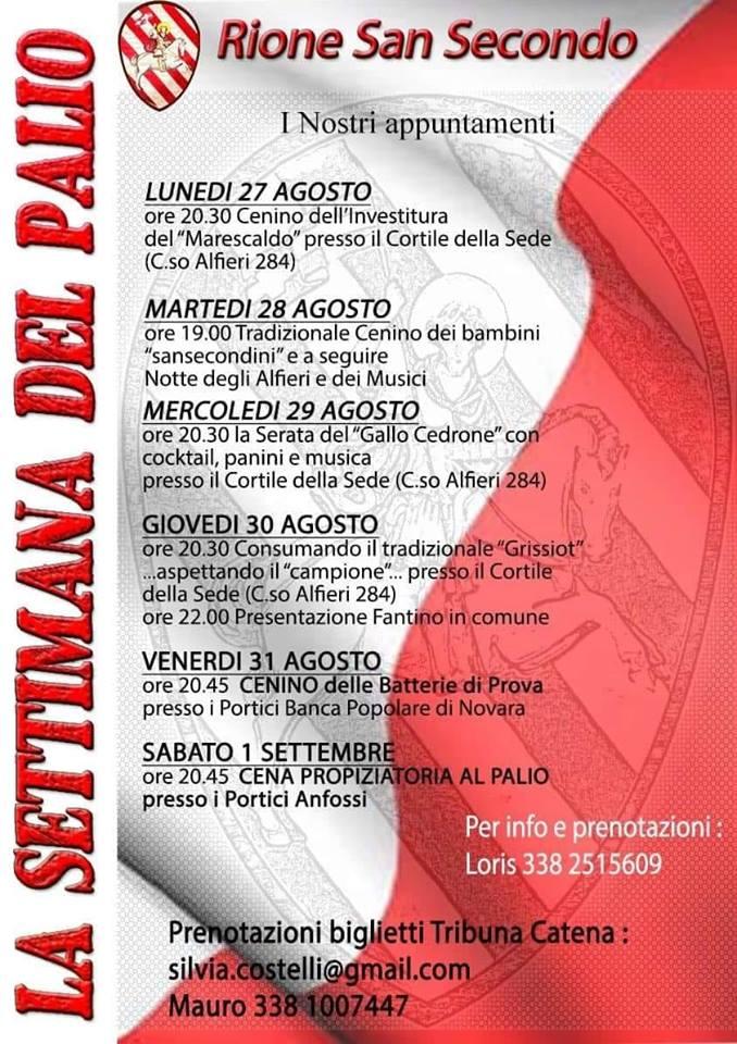 Palio di Legnano: 27/08-01/09 Appuntamenti Settimana Palio2018