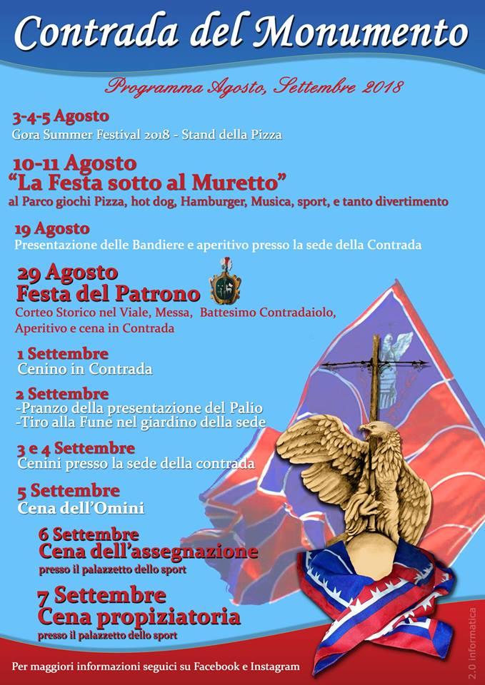 Palio di Castel del Piano, Contrada Monumento: Programma Agosto eSettembre