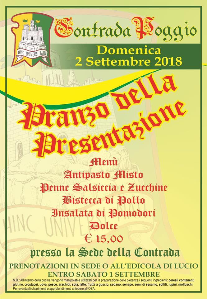 Palio di Castel del Piano, Contrada Poggio: 02/09 Pranzo dellaPresentazione