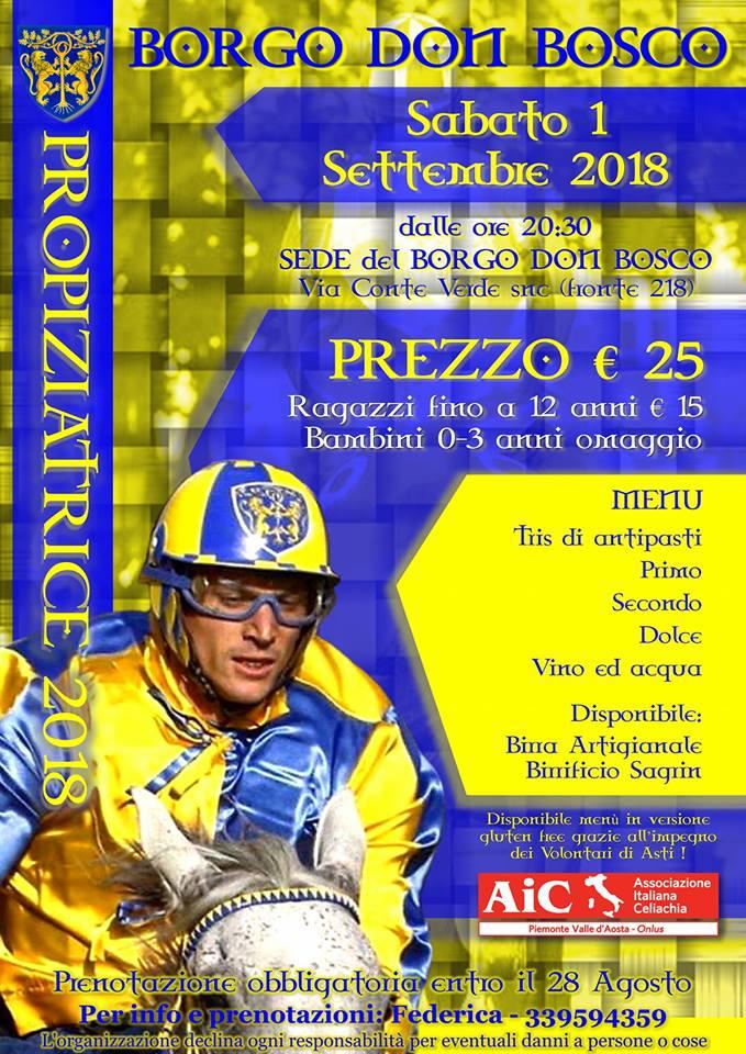Palio di Asti, Borgo Don Bosco: 01/09 Cena propiziatoria, IlMenù