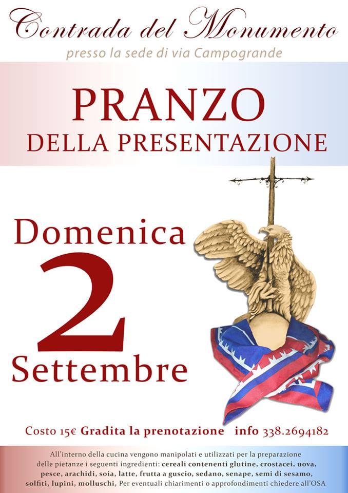 Palio di Castel del Piano, Contrada Monumento: 02/09 Pranzo della Presentazione delPalio