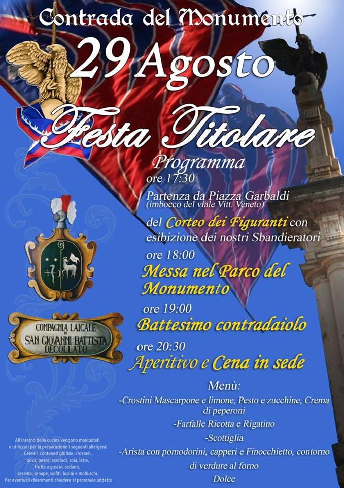 Palio di Castel del Piano, Contrada Monumento: Domani 29/08 Festa Titolare2018