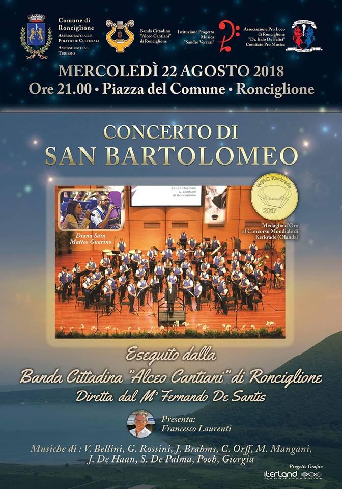 Palio di Ronciglione: Oggi 22/08 Concerto di SanBartolomeo