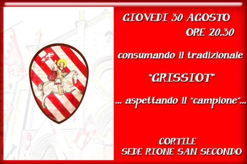 """Palio di Asti, Rione San Secondo: 30/08 Serata consumando il tradizionale """"Grissiot"""""""