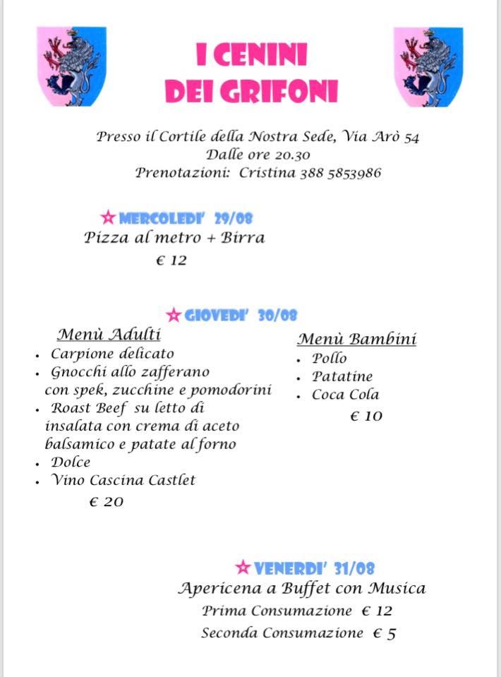Palio di Asti, Borgo Santa Maria Nuova:  29-30-31/08 Programma Cenini Palio2018