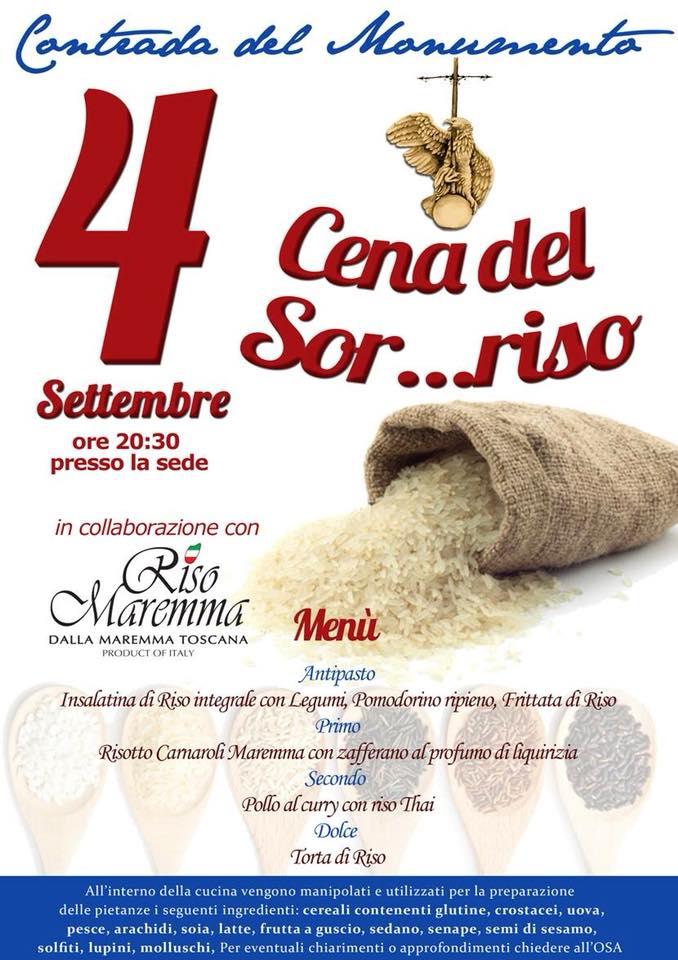 Palio di Castel del Piano, Contrada Monumento: Oggi 04/09 Cena delSor…riso