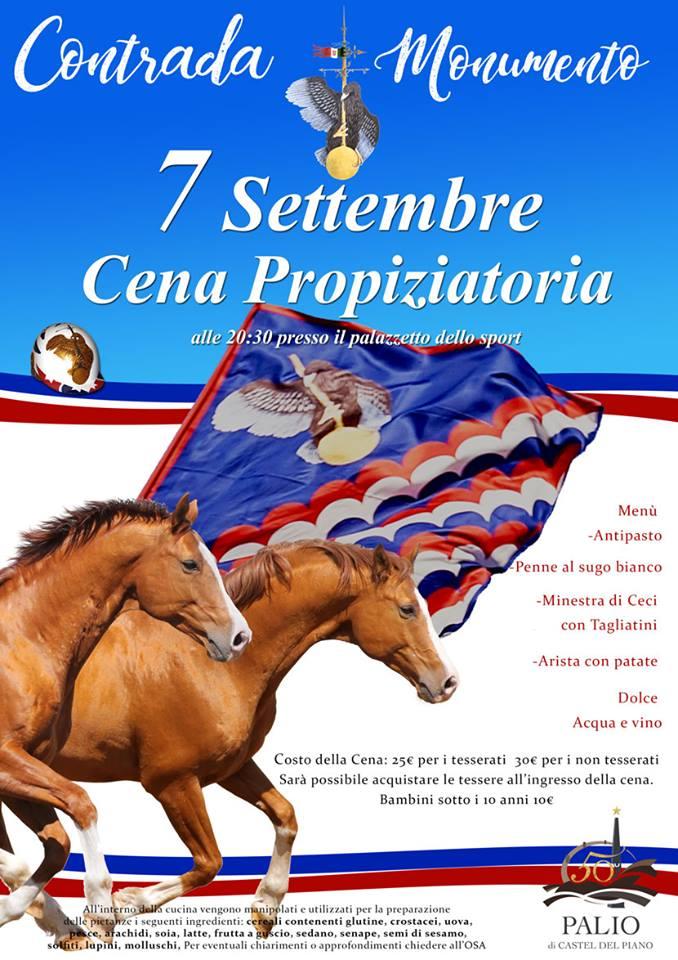 Palio di Castel del Piano, Contrada Monumento: 07/09 Cena Propiziatoria2018