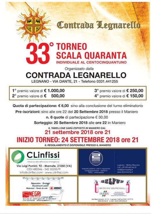 """Legnano Contrada Legnarello: Torna il """"Torneo di Scala Quaranta"""" della ContradaLegnarello"""