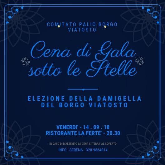 Palio di Asti, Borgo Viatosto: Domani 14/09 Cena  di Gala Sotto LeStelle