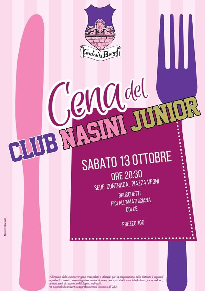 Palio di Castel del Piano, Contrada Borgo: 13/10 Cena del Club NasiniJunior