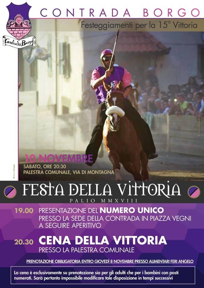 Palio di Castel del Piano, Contrada Borgo: 10/11 Festa dellaVittoria