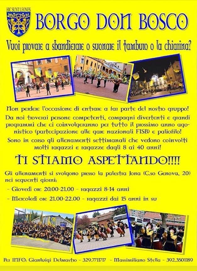 Palio di Asti, Borgo Don Bosco: Info corsi gruppi Musici eSbandieratori