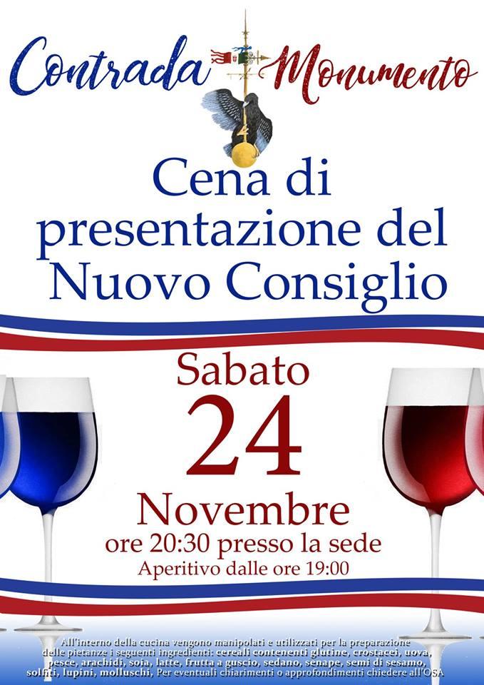 Palio di Castel del Piano, Contrada Monumento: Oggi 24/11 ore 20.30 Cena di Presentazione del NuovoConsiglio