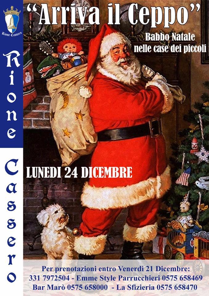 """Palio di Castiglion Fiorentino, Rione Cassero: 24/12 """"Arriva il Ceppo"""". Babbo Natale nelle case deipiccoli"""
