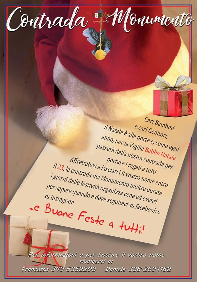 Palio di Castel del Piano, Contrada Monumento: 23/12 Arriva babbo natale per i bambini dellaContrada