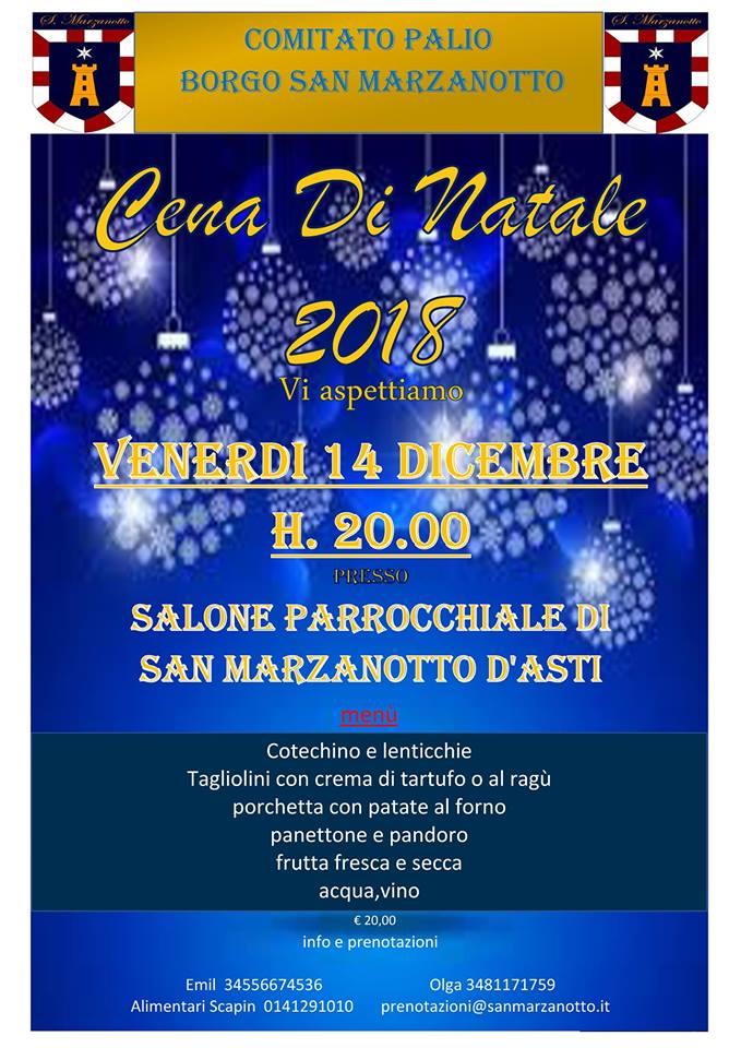 Palio di Asti, Comitato Palio Borgo San Marzanotto: 14/12 ore 20.00 Cena di Natale2018