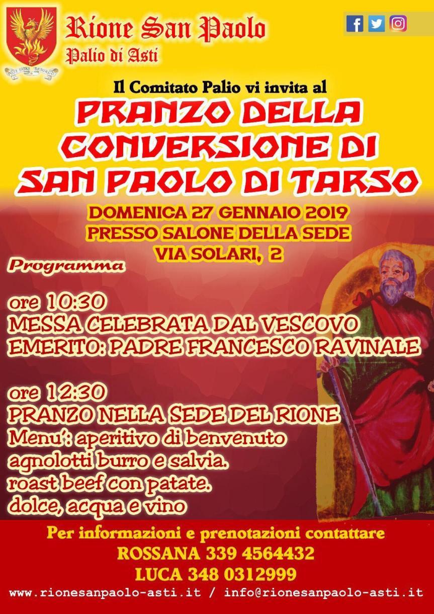 """Palio di Asti, Rione San Paolo: 27/01 """"Pranzo della Conversione di San PaoloTarso"""""""