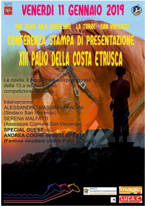 Palio della Costa Etrusca: 11/01 ore 18.00 Conferenza stampa di presentazione della XIII edizione delPalio