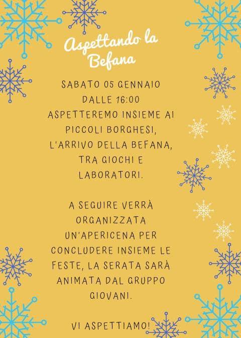 Palio di Piancastagnaio, Contrada Borgo: 05/01 Arriva La Befana – Apericena dellaBefana