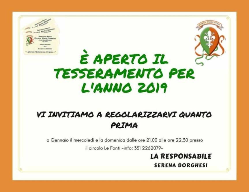 Palio di Castiglion Fiorentino, Terziere Porta Fiorentina: Aperto il Tesseremento per l'Anno2019