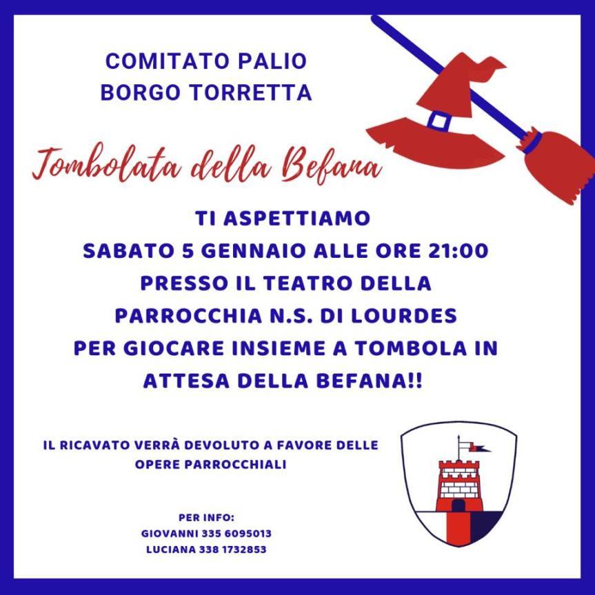 """Palio di Asti, Comitato Palio Borgo Torretta: 05/01 ore 21 """"Tombola dellaBefana"""""""