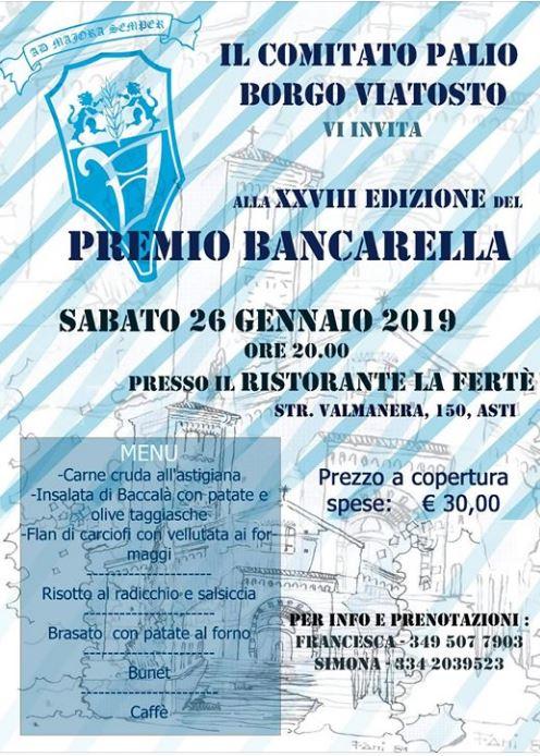 Palio di Asti, Comitato Palio Borgo Viatosto:  26/01 Premio Bancarella2018