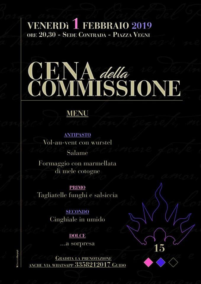 Palio di Castel del Piano, Contrada Borgo: Domani 01/02 Cena dellaCommissione