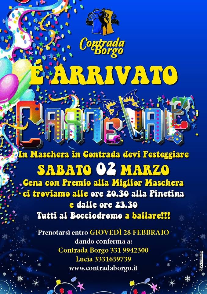 """Palio di Piancastagnaio, Contrada Borgo: 02/03 """" E' arrivato Carnevale"""""""
