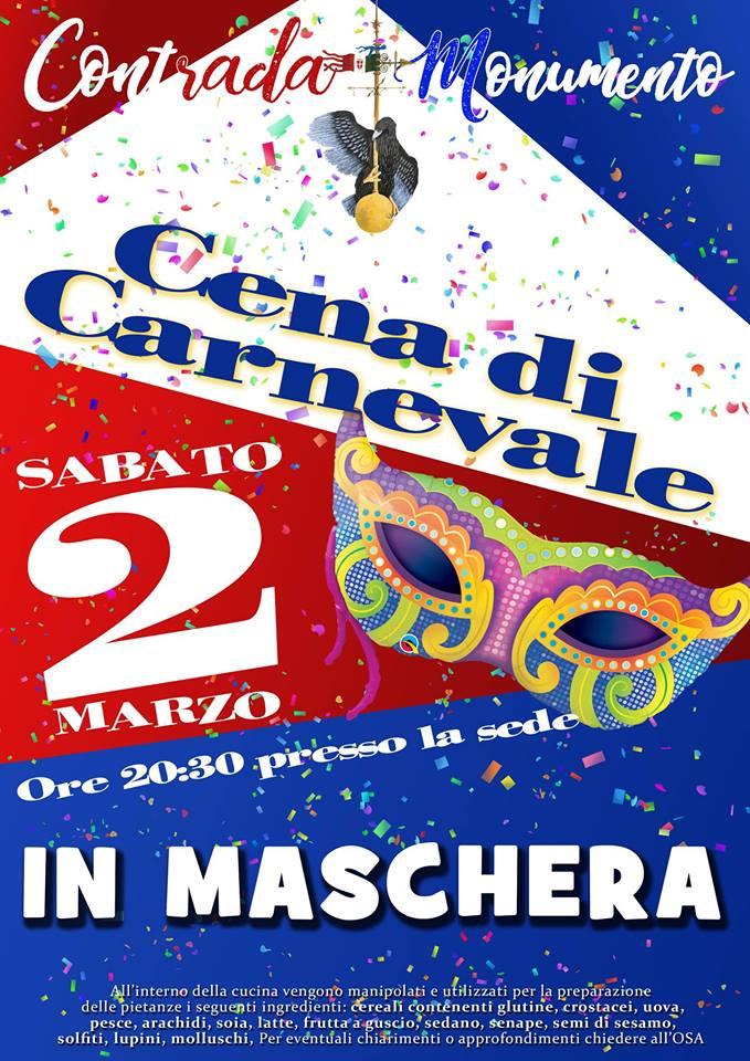 Palio di Castel del Piano, Contrada Monumento: 02/03 Cena di Carnevale inMaschera