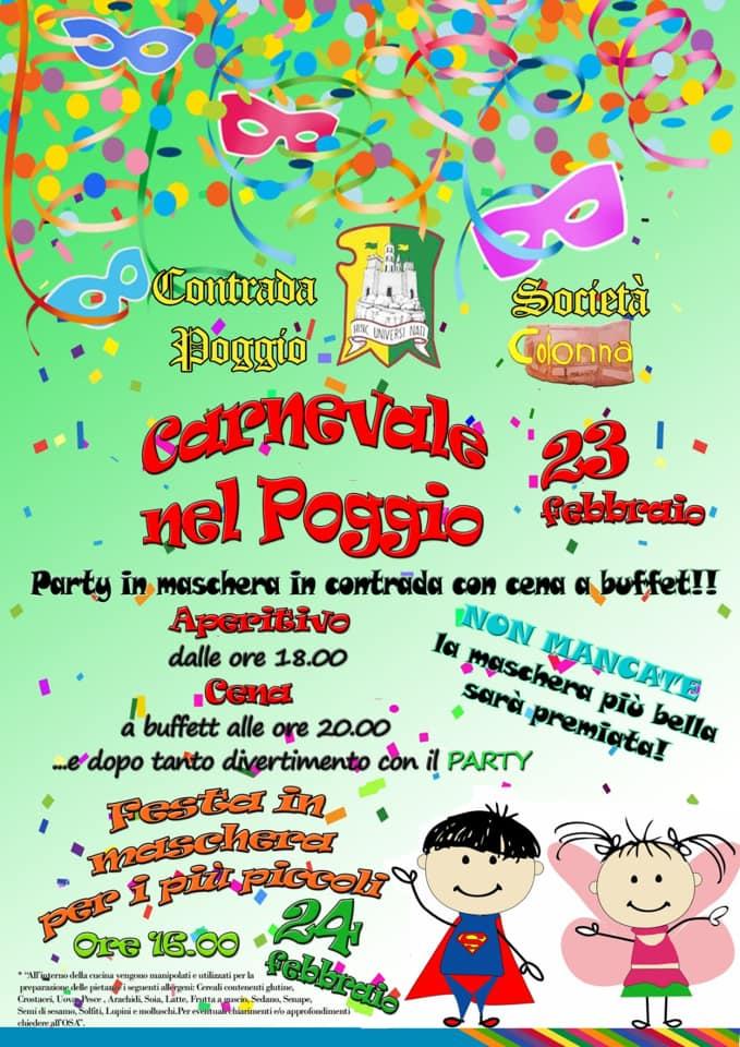 Palio di Castel del Piano, Contrada Poggio: 23/02 ore 17.00 Party e Buffet diCarnevale