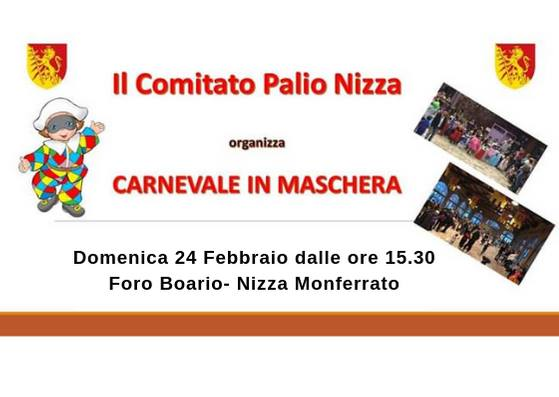 """Palio di Asti, Comitato Palio Nizza Monferrato: 24/02 """"Carnevale inMaschera"""""""