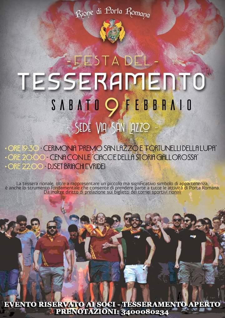 Palio di Castiglion Fiorentino, Rione Porta Romana: 09/02 Cena delTesseramento