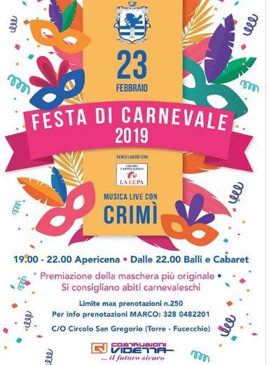 palio di Fucecchio, Contrada Torre: Oggi 23/02 Festa di Carnevale gemellata con il Gruppo Carnevalesco LaLupa
