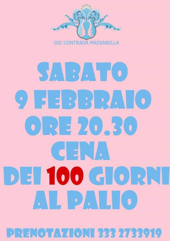 Palio di Fucecchio, Contrada Massarella: 09/02 Cena dei 100 Giorni alPalio
