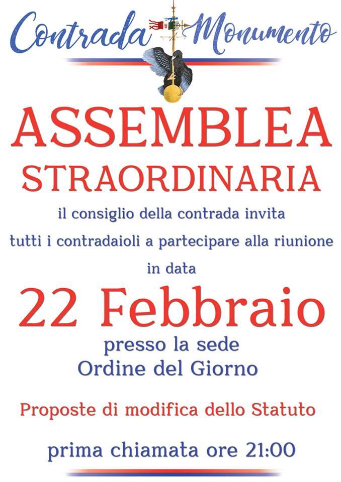 Palio di Castel del Piano, Contrada Monumento: 22/02 AssembleaStraordinaria
